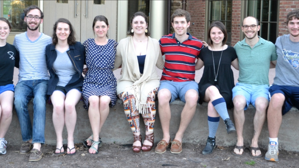 From left to right: Siranna Santacrose, Kevin Welsh, Sara Kleinman, Shannon O'Brien, Emily Moore, Jack Cartwright, Beth Comatos, Ben Fields, Patrick English