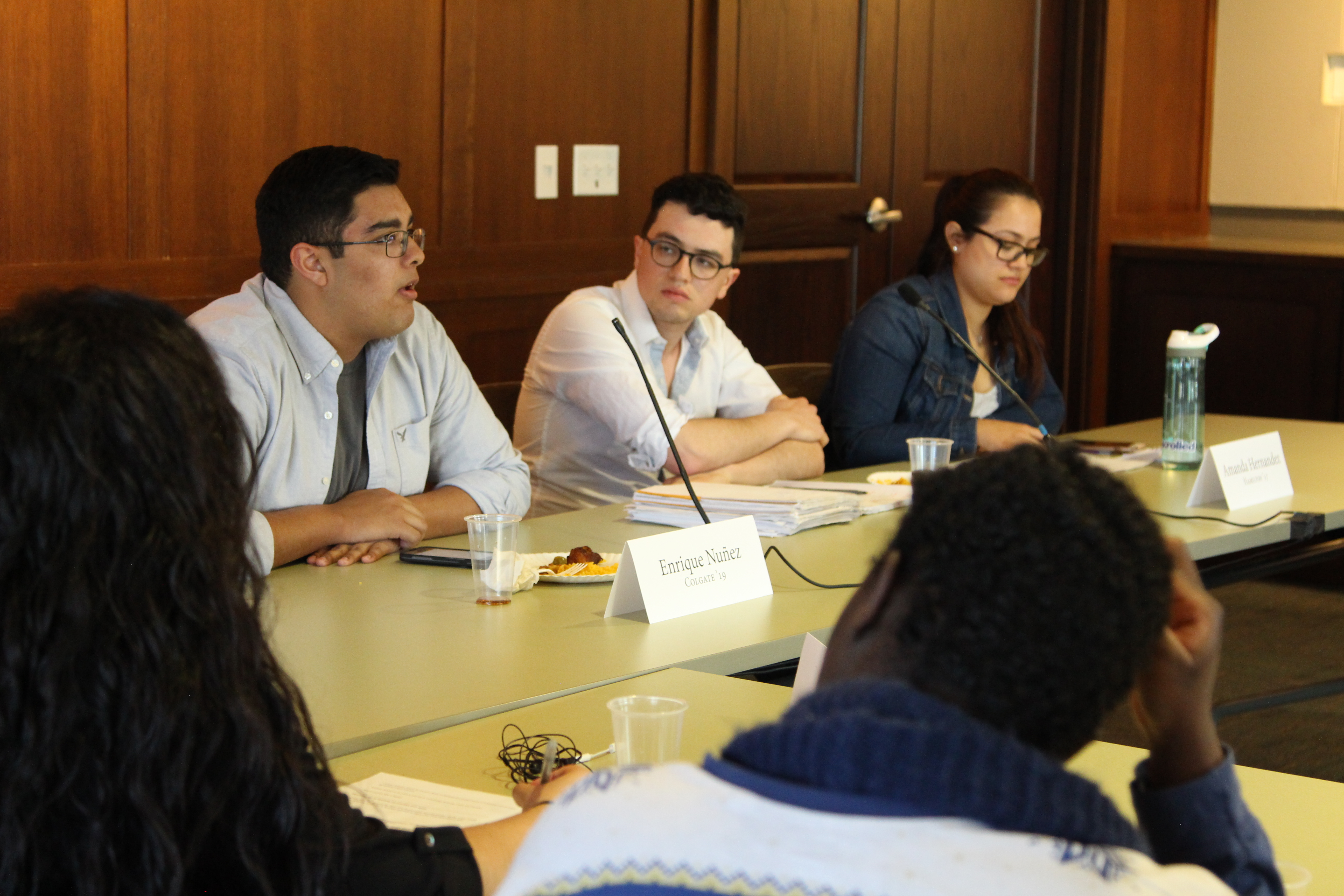 Panelist Enrique Nuñez '19 speaks during Friday's event; Photo by Molly Clark '19
