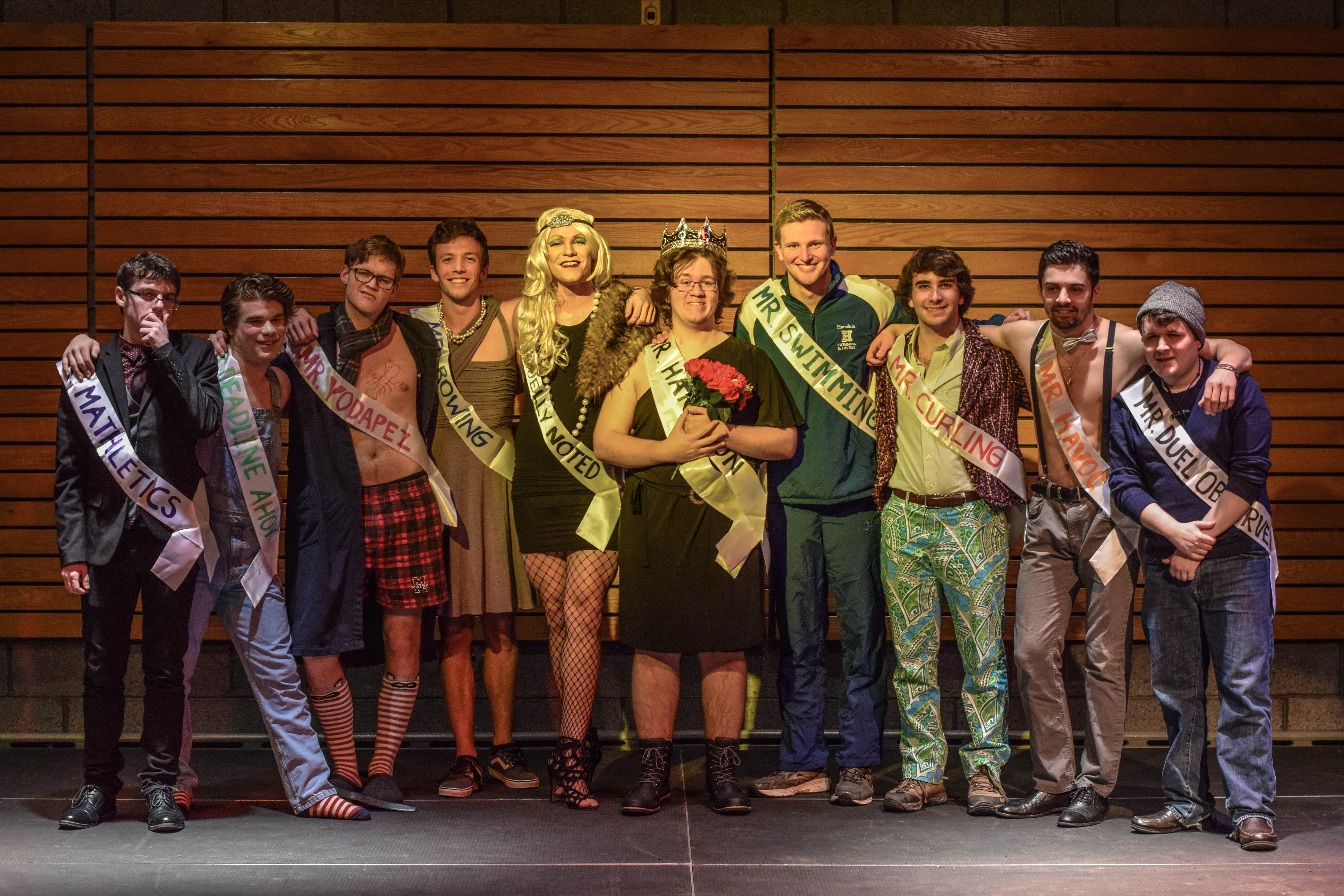 "The contestants pose after their performances vying for the title of ""Mr. Hamilton."""